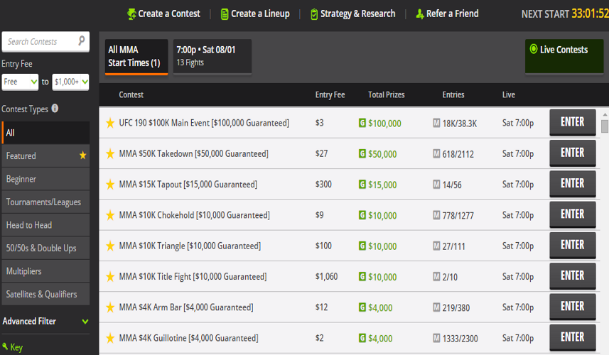 MMA Fights Get Busy at Draftkings