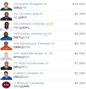 Pick a Fanduel Team